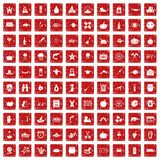 100 autumn holidays icons set grunge red. 100 autumn holidays icons set in grunge style red color isolated on white background vector illustration Stock Photos