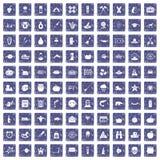 100 autumn holidays icons set grunge sapphire. 100 autumn holidays icons set in grunge style sapphire color isolated on white background vector illustration Stock Image