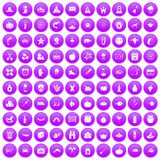 100 autumn holidays icons set purple. 100 autumn holidays icons set in purple circle isolated on white vector illustration Stock Photo