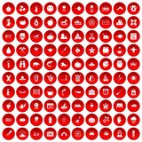 100 autumn holidays icons set red. 100 autumn holidays icons set in red circle isolated on white vector illustration Royalty Free Stock Images
