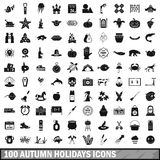 100 autumn holidays icons set, simple style. 100 autumn holidays icons set in simple style for any design vector illustration Royalty Free Stock Photo