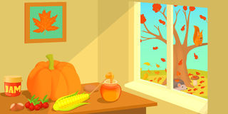 Autumn horizontal banner, cartoon style Royalty Free Stock Photography