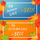 Autumn horizontal banner. Autumn orange, red, green maple leaves around the white rectangle frame with quote on blue background. Cartoon vector illustration stock illustration
