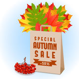 Autumn horizontal banner. Autumn orange, red, yellow and green leaves in craft package with sale sign on blue background. Cartoon vector illustration. Concept stock illustration
