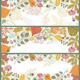 Autumn horizontal banner set.Leaf,branches,acorn, Royalty Free Stock Photography