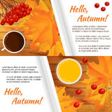 Autumn horizontal banner. Two autumn horizontal banners with yellow maple leaves, rowen, cup of coffee and glass of orange juice on wooden table. White sheet of Royalty Free Stock Photo