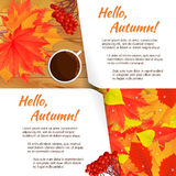 Autumn horizontal banner. Two autumn horizontal banners with yellow, orange, red leaves, rowen, cup of coffee on wooden table. White sheet of paper for the sign Stock Photos