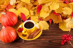 Autumn horizontal banner with yellow, red leaves, pumpkins, cup of coffee and guelder rose on brown wooden background. Stock Photos