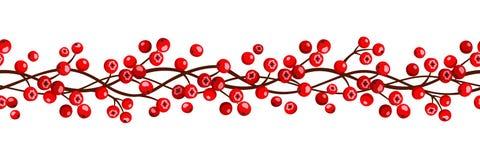 Autumn horizontal seamless garland with rowan berries. Vector illustration. Stock Images