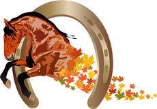Autumn horse. Depiction of a horse with autumn leaves, and a horseshoe Royalty Free Stock Photos