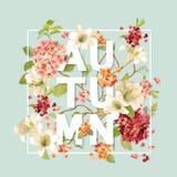 Autumn Hortensia Flowers Background Design Grafico della maglietta, stampa di modo Immagini Stock Libere da Diritti