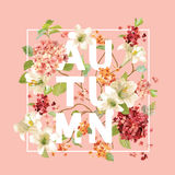 Autumn Hortensia Flowers Background Design Grafico della maglietta, stampa di modo Fotografie Stock Libere da Diritti