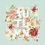 Autumn Hortensia Flowers Background Design Graphique de T-shirt, copie de mode Illustration Stock
