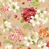Autumn Hortensia und Lily Flowers Backgrounds Nahtloses schäbiges schickes mit Blumenmuster Lizenzfreies Stockbild