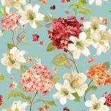 Autumn Hortensia und Lily Flowers Backgrounds Nahtloses schäbiges schickes mit Blumenmuster lizenzfreie abbildung