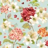 Autumn Hortensia y Lily Flowers Backgrounds Modelo elegante lamentable floral inconsútil Fotos de archivo libres de regalías