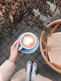 Autumn hot cappuccino Royalty Free Stock Photography
