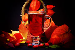 Autumn hot drink with wild rose on wooden background retro rustic style physalis in a basket Stock Image