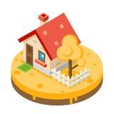 Autumn House Building Private Property-Baum-Ikonen-Real Estate-Symbol-Wiesen-Hintergrund-flache Design-Vektor-Illustration Lizenzfreie Stockbilder