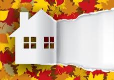 Autumn House gescheurde document achtergrond Royalty-vrije Stock Afbeelding