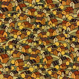 Autumn houses seamless pattern Stock Photo