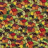 Autumn houses seamless pattern Royalty Free Stock Photo