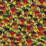 Autumn houses seamless pattern Royalty Free Stock Photo