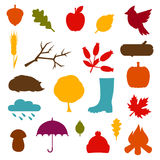 Autumn icon and objects set for design Stock Photography