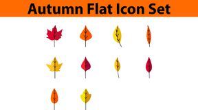 Autumn Icon Set Flat Design royaltyfri illustrationer