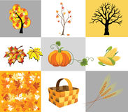 Autumn icons. Several icons of autumn, trees and vegetables Royalty Free Stock Photo