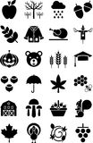 Autumn icons Stock Photos