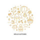Autumn icons in circle. Pumpkin, clothing, jam, weather, mushrooms, harvest in a linear style. stock photography