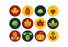 Autumn icons. Vector illustration. Autumn icons in modern line style. Vector illustration stock illustration