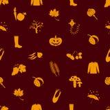 Autumn icons orange seamless pattern Royalty Free Stock Photography