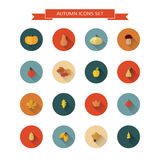 Autumn icons set. Autumnal icons set with long shadows on isolated background. Vector modern illustration. Flat design, minimalistic style Stock Photos
