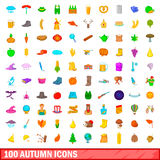 100 autumn icons set, cartoon style. 100 autumn icons set in cartoon style for any design vector illustration Royalty Free Stock Photos
