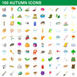 100 autumn icons set, cartoon style. 100 autumn icons set in cartoon style for any design vector illustration Stock Image
