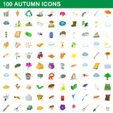 100 autumn icons set, cartoon style. 100 autumn icons set in cartoon style for any design illustration royalty free illustration