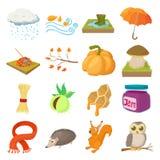 Autumn icons set, cartoon style Royalty Free Stock Photos