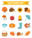Autumn icons set flat or cartoon style.Collection design elements with yellow leaves, trees, mushrooms, pumpkin, wild Stock Images