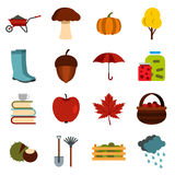 Autumn icons set, flat ctyle Royalty Free Stock Image