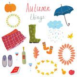 Autumn icons set funny design Royalty Free Stock Image