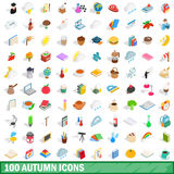 100 autumn icons set, isometric 3d style. 100 autumn icons set in isometric 3d style for any design vector illustration Royalty Free Stock Image