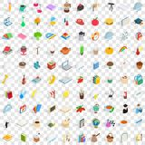 100 autumn icons set, isometric 3d style Royalty Free Stock Photos