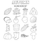 Autumn icons set, outline style Royalty Free Stock Image