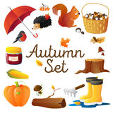 Autumn Icons Set Round Composition Poster Royalty Free Stock Photography