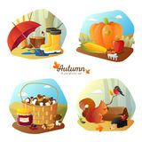 Autumn 4 Icons Square  Set Royalty Free Stock Photo