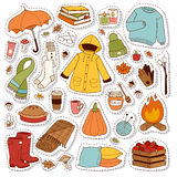 Autumn icons stickers hand drawn vector. Royalty Free Stock Photo