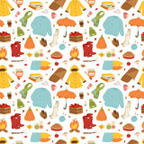 Autumn icons stickers hand drawn vector seamless pattern Stock Photo