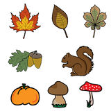 Autumn icons Royalty Free Stock Images
